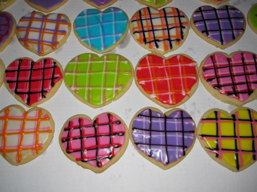 Plaid Valentine Cookies on Cake Central