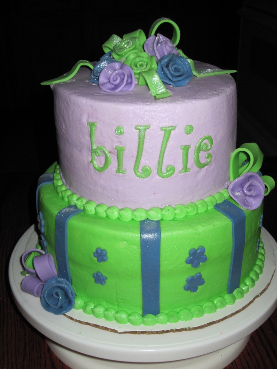 8 And 6 Layers Covered In Buttercream With Fondant Accents Painted With Pearl Dust on Cake Central