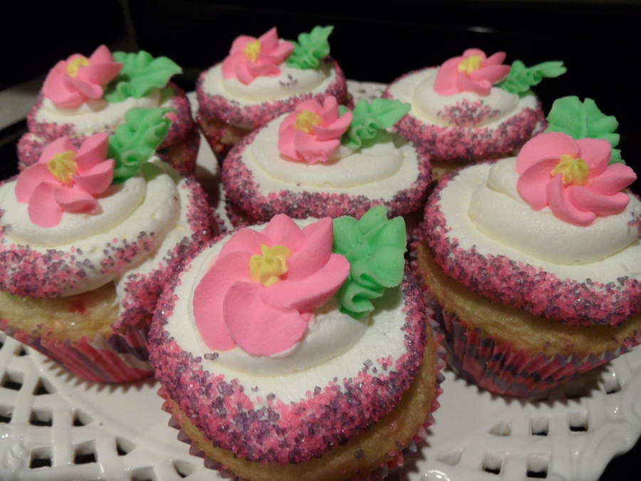 Pink And Purple Sparkles With Royal Icing Flowers on Cake Central