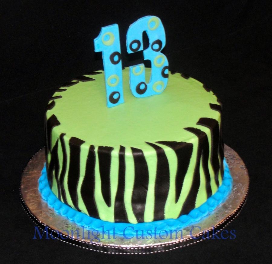 Neon & Zebra Stripes  on Cake Central