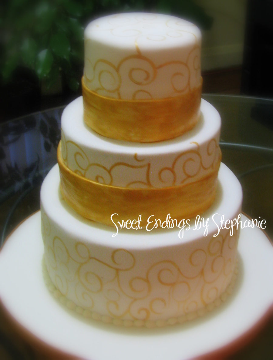 Hand Painted Golden Swirls Wedding Cake on Cake Central