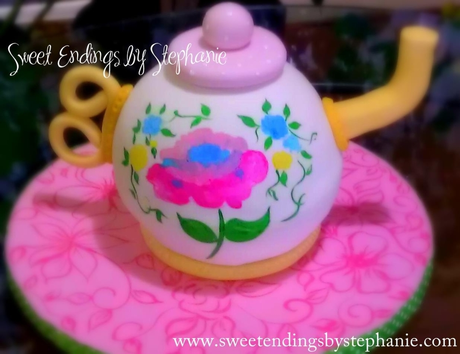 Hand Painted Tea Pot Cake on Cake Central