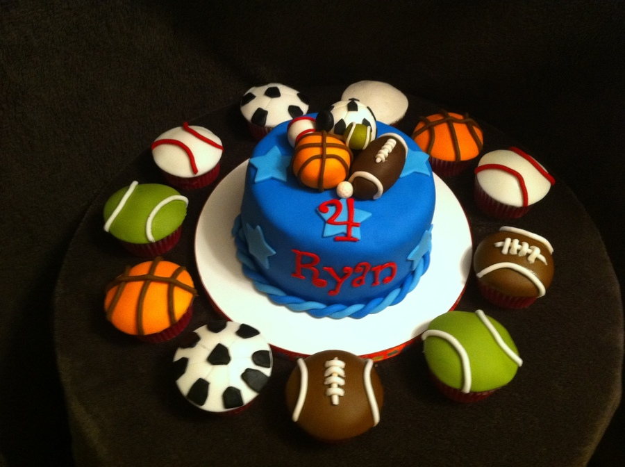 Sports Ball Cake And Cupcakes on Cake Central