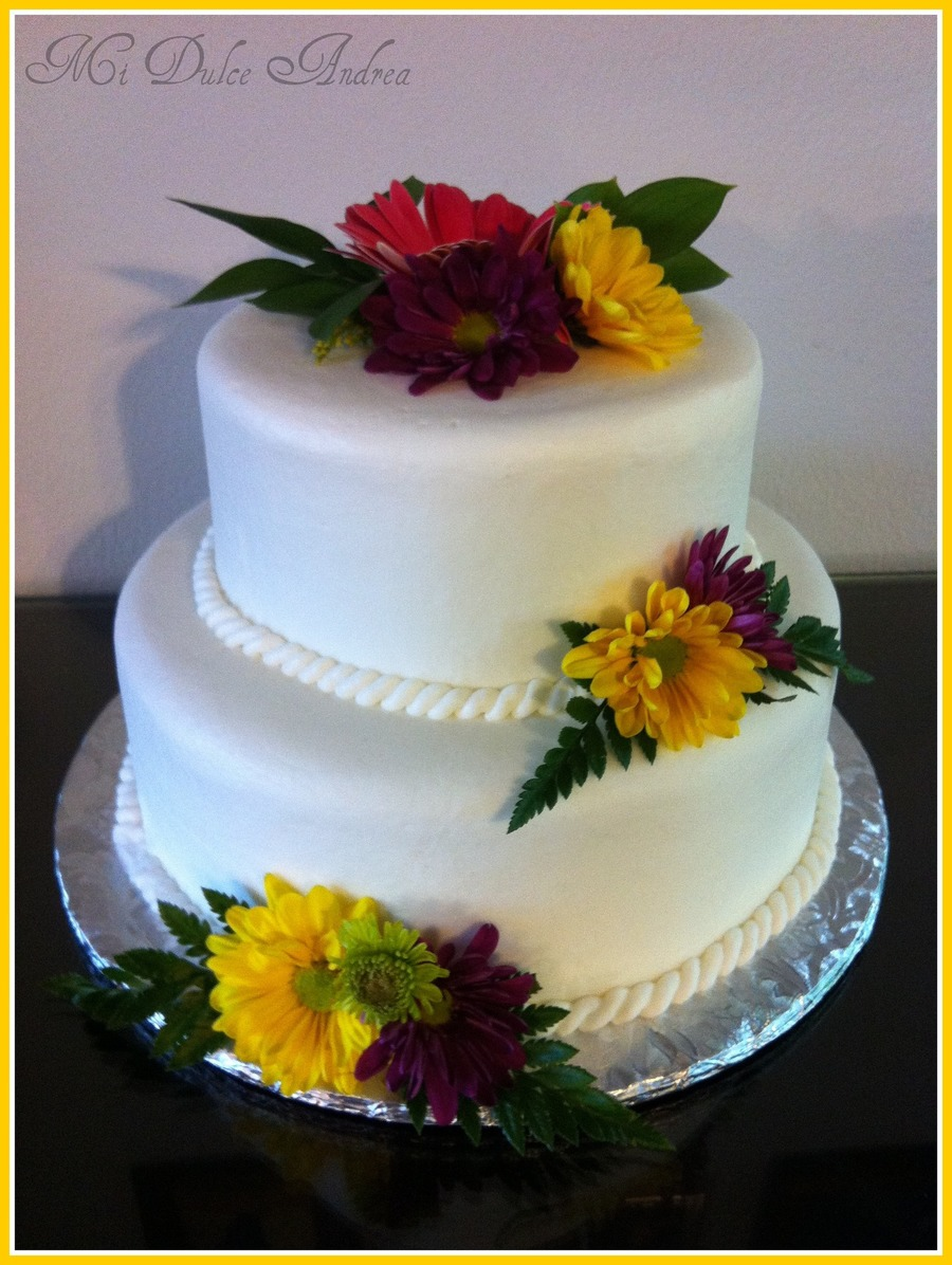 2 Tier W/natural Flowers on Cake Central