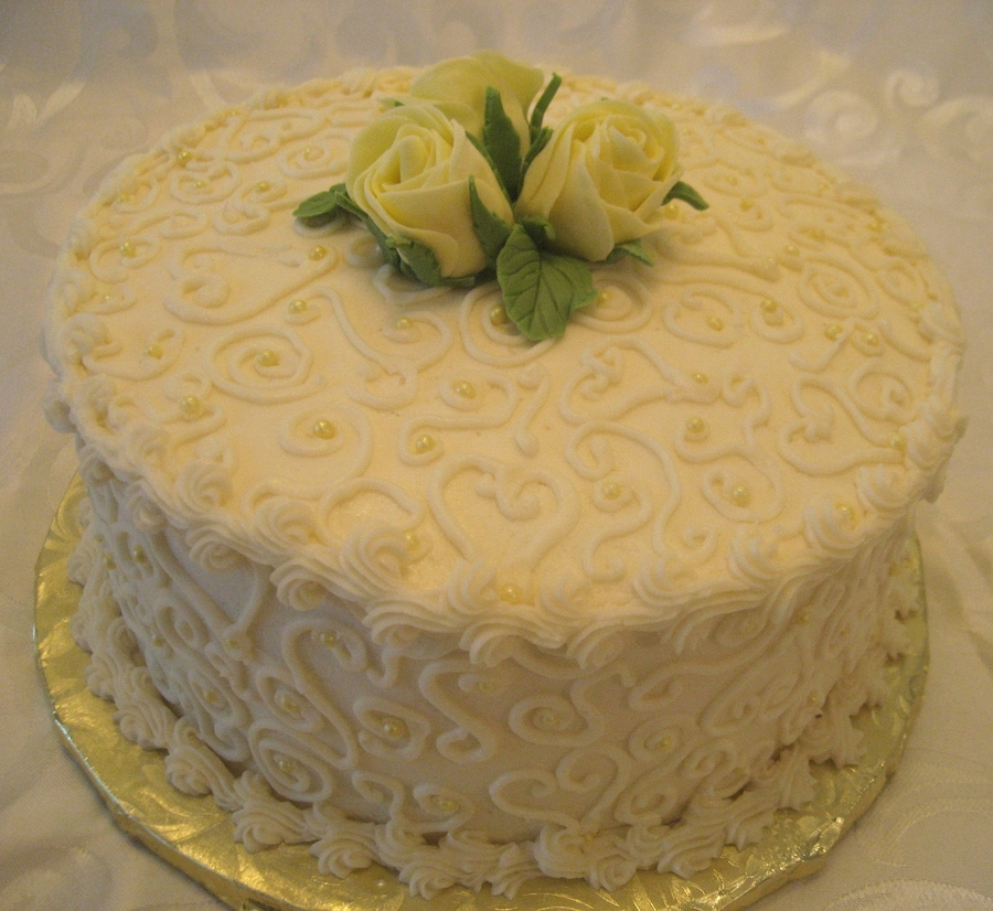Yellow Rose With Scrollwork on Cake Central