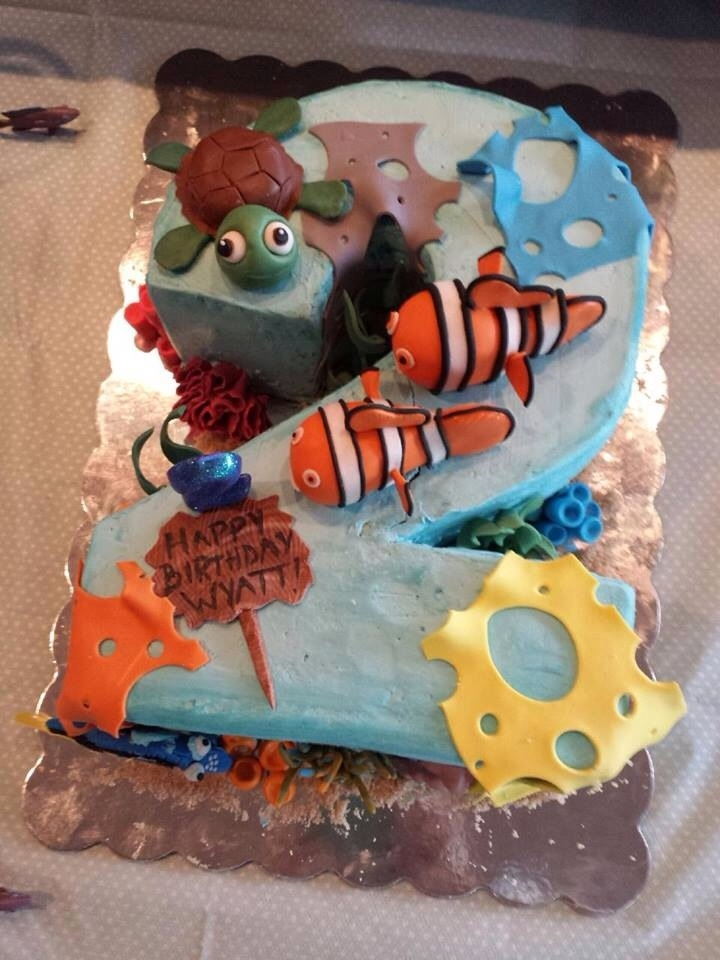 nemo cake template - nemo number two cake
