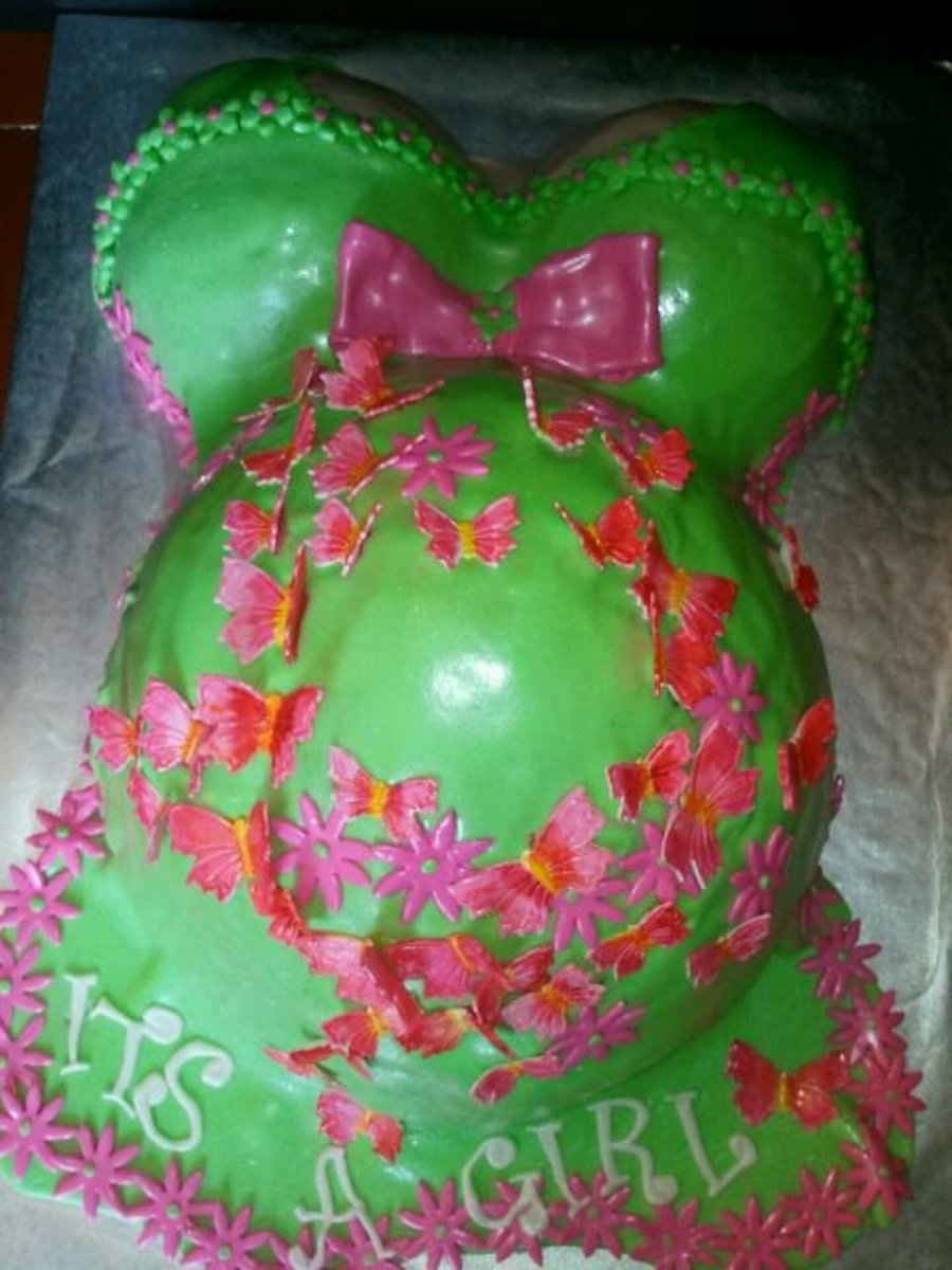 Pregnant Butterflies And Flowers Belly Baby Shower Cake on Cake Central
