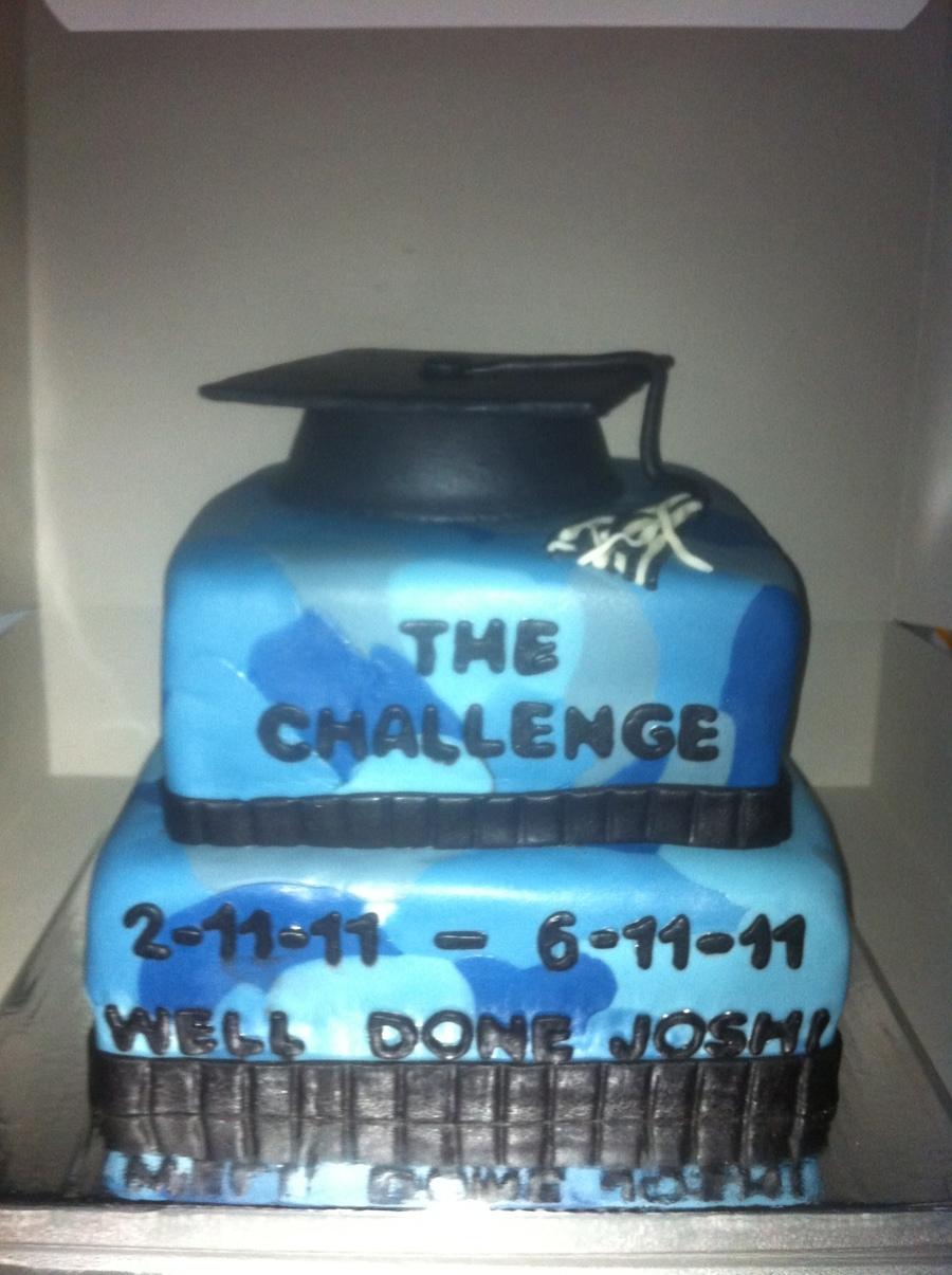 Blue Camo Graduation Cake CakeCentralcom