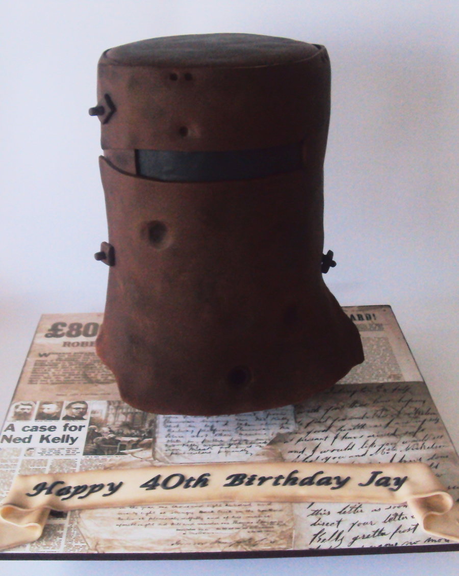 3d Ned Kelly Armour Helmet Cake Cakecentral Com