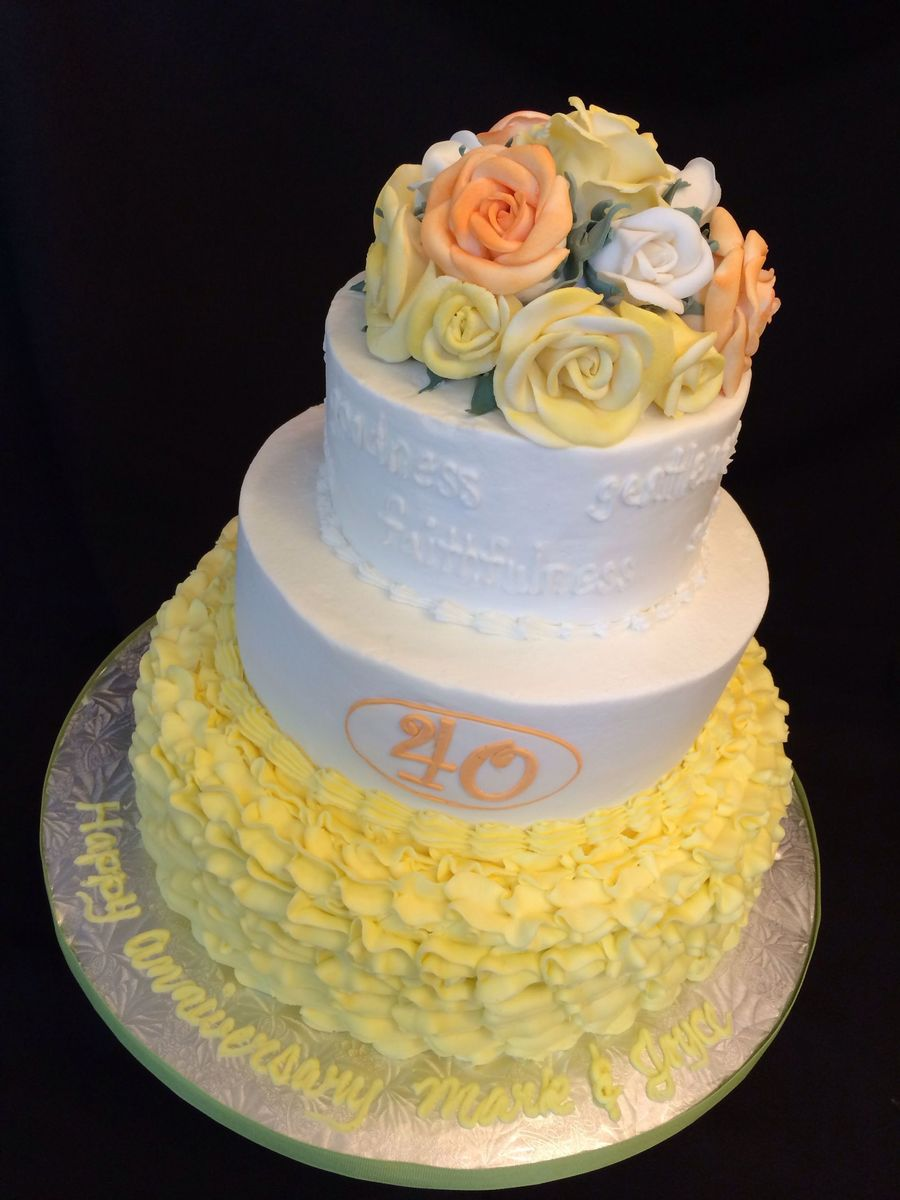 40Th Wedding Anniversary Cake Decorated With Buttercream Frosting ...
