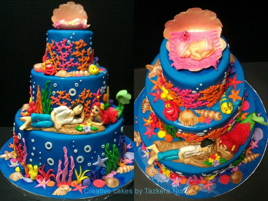little mermaid themed baby shower cake every details and figurines are