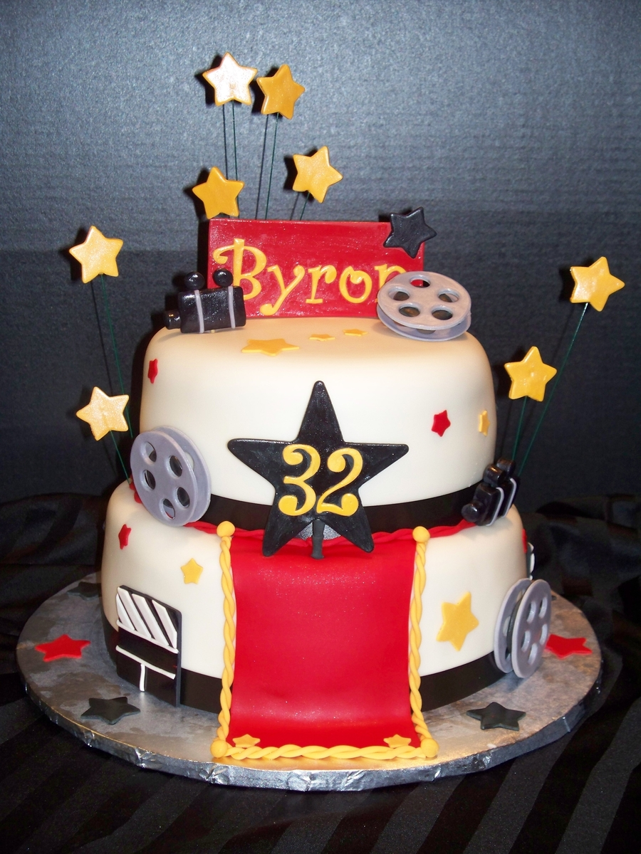 Peachy Hollywood Themed Birthday Cake Cakecentral Com Funny Birthday Cards Online Elaedamsfinfo