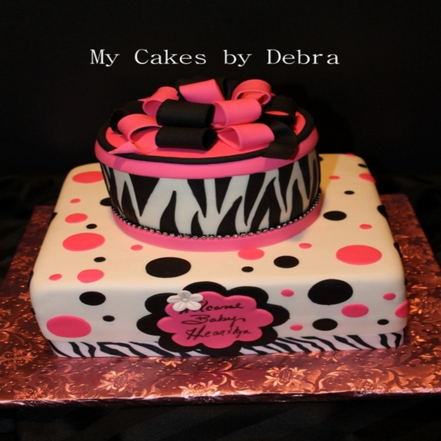 Pink And Black Polka Dots Baby Shower Cake on Cake Central