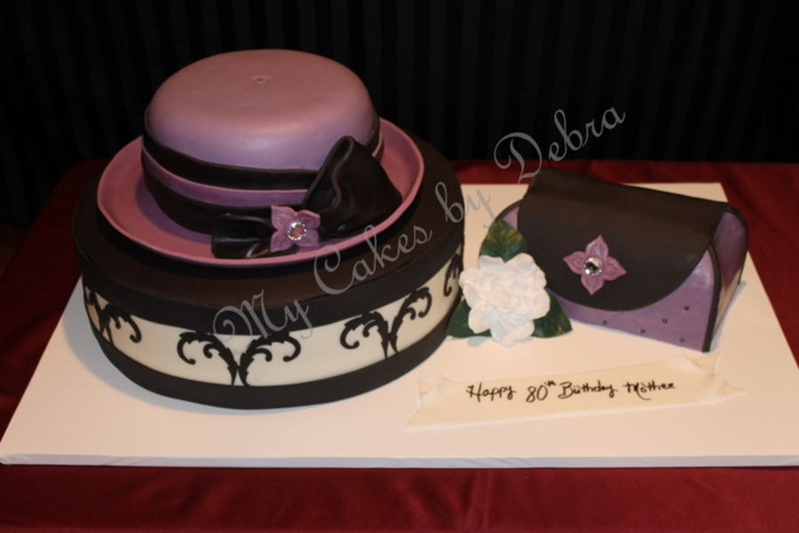 "80Th Birthday Cake ""hat Cake With Hat Box And Purse"" All Cake  on Cake Central"