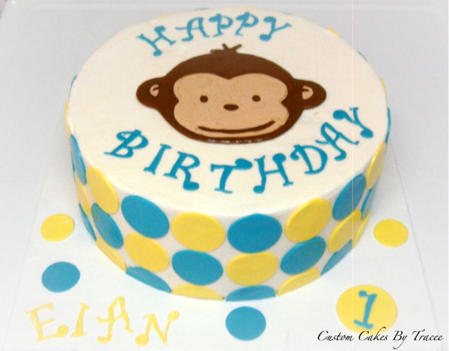 Mod Monkey 1St Birthday Cake CakeCentralcom