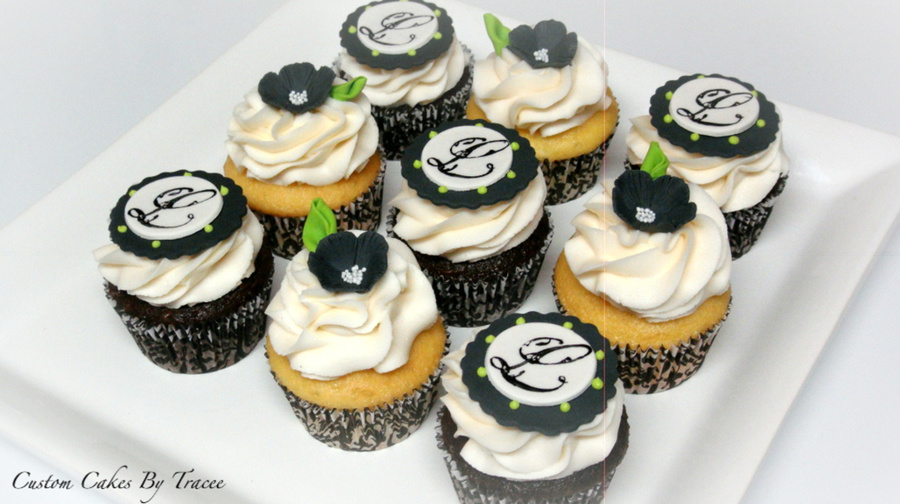 Black And White Bridal Shower Cupcakes  on Cake Central