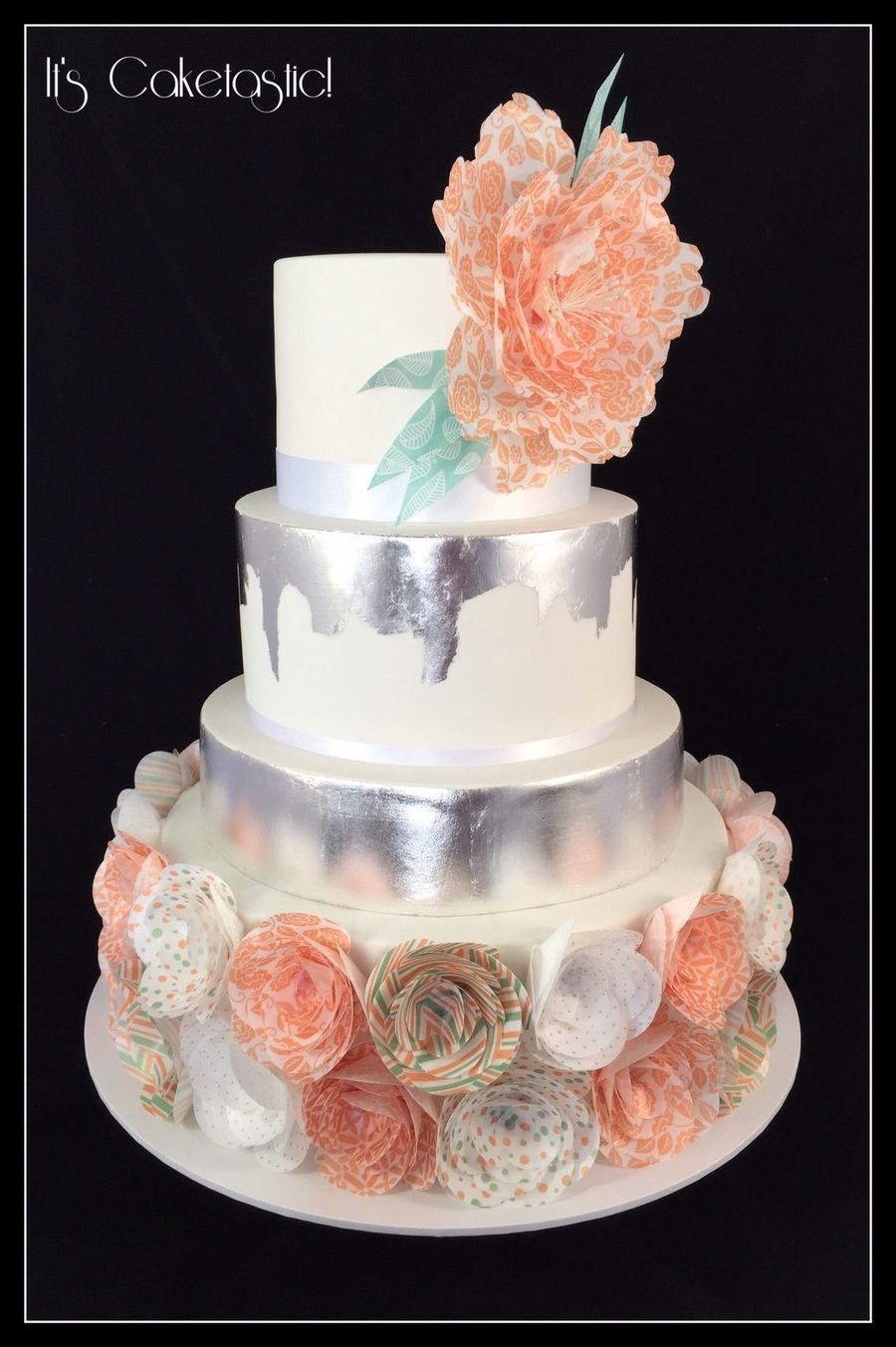 Coral And Mint Wafer Paper Wedding Cake With Silver Leaf on Cake Central