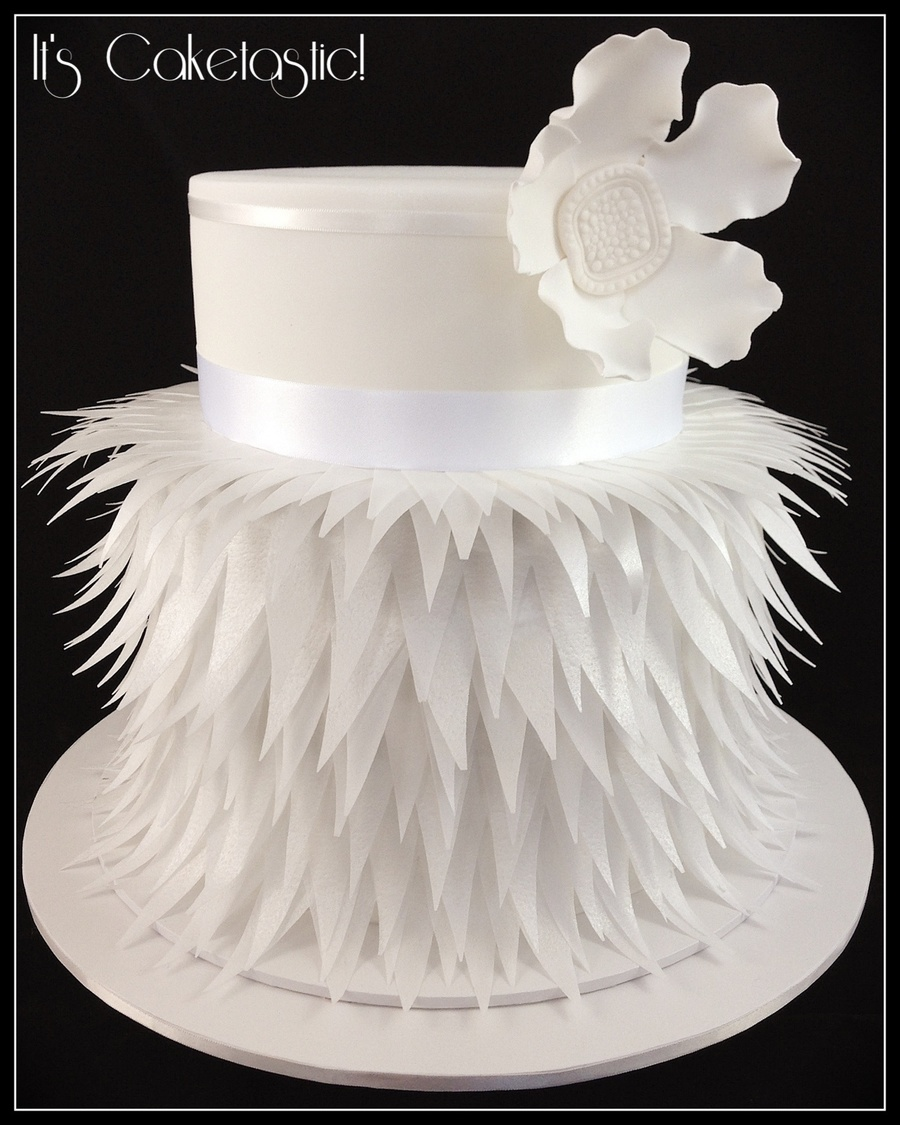 Beautiful Wedding Cake Made From Rice Paper Feathers. - CakeCentral.com
