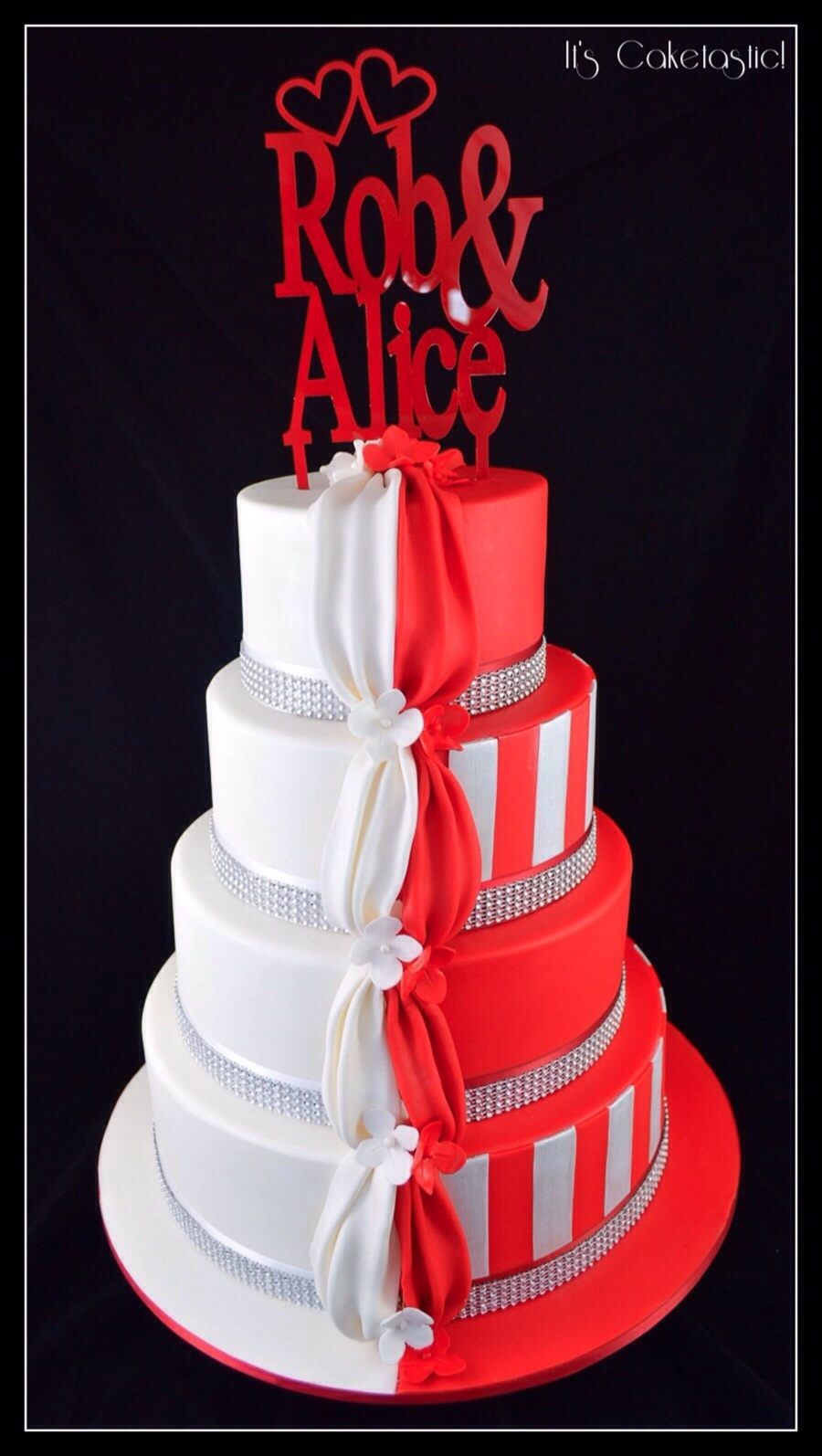 Half And Half White And Red Wedding Cake on Cake Central