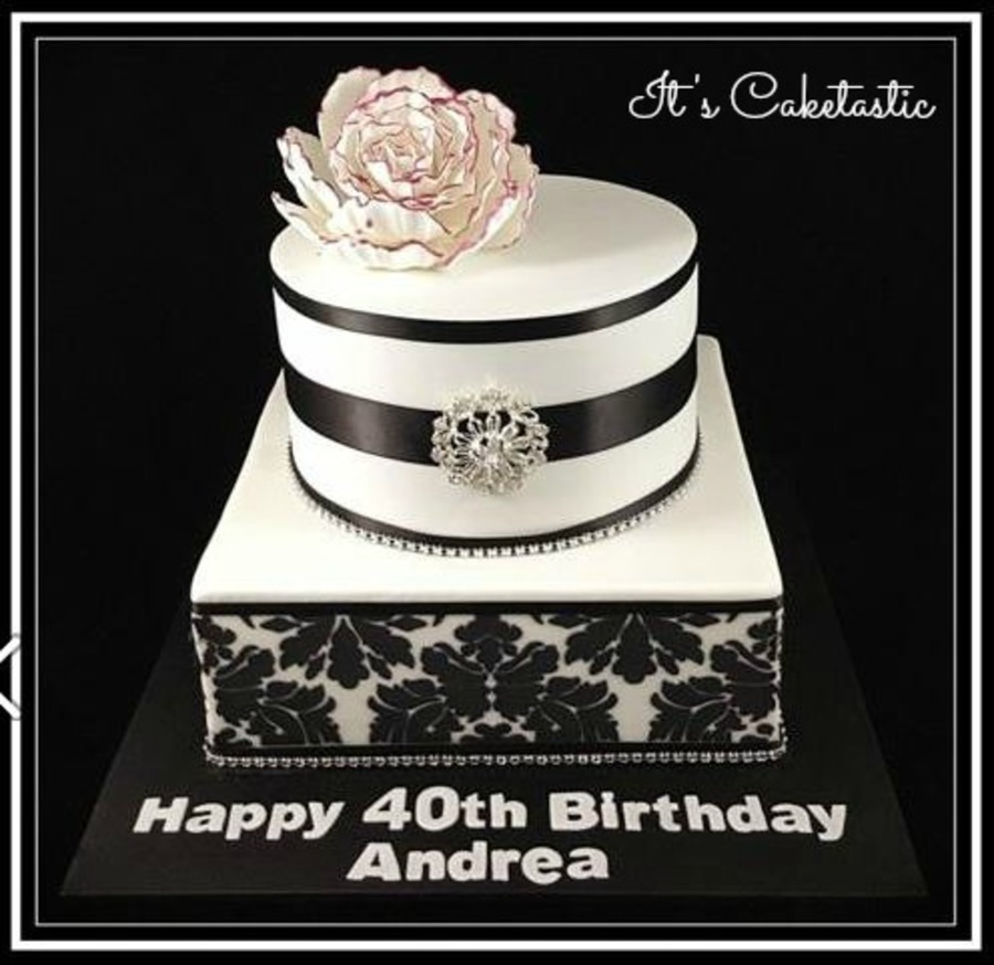 Black And White Damask 40th Birthday Cake Cakecentral