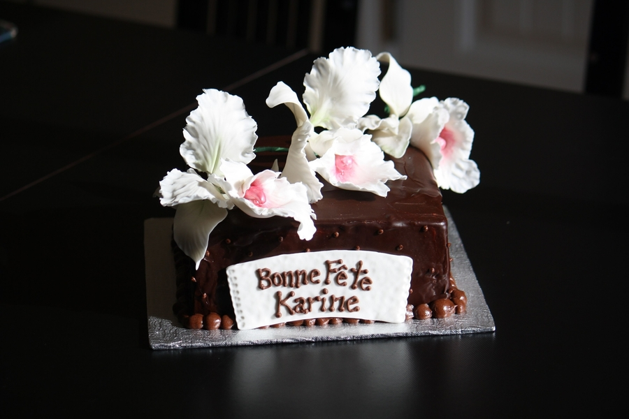 Chocolat And Flower Cake  on Cake Central