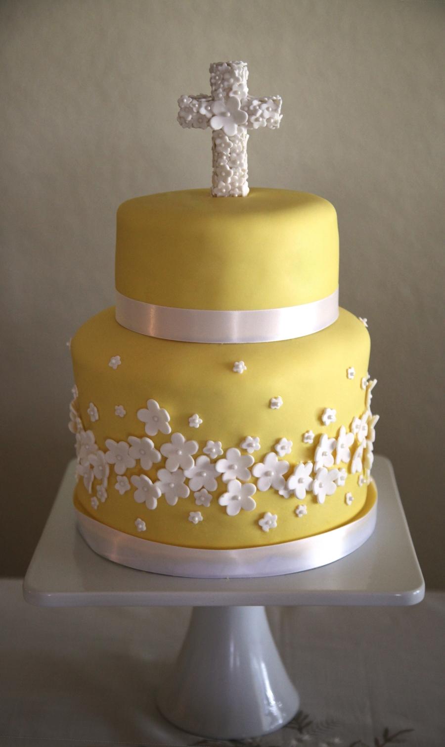 Yellow Baptism Cake Cakecentral Com
