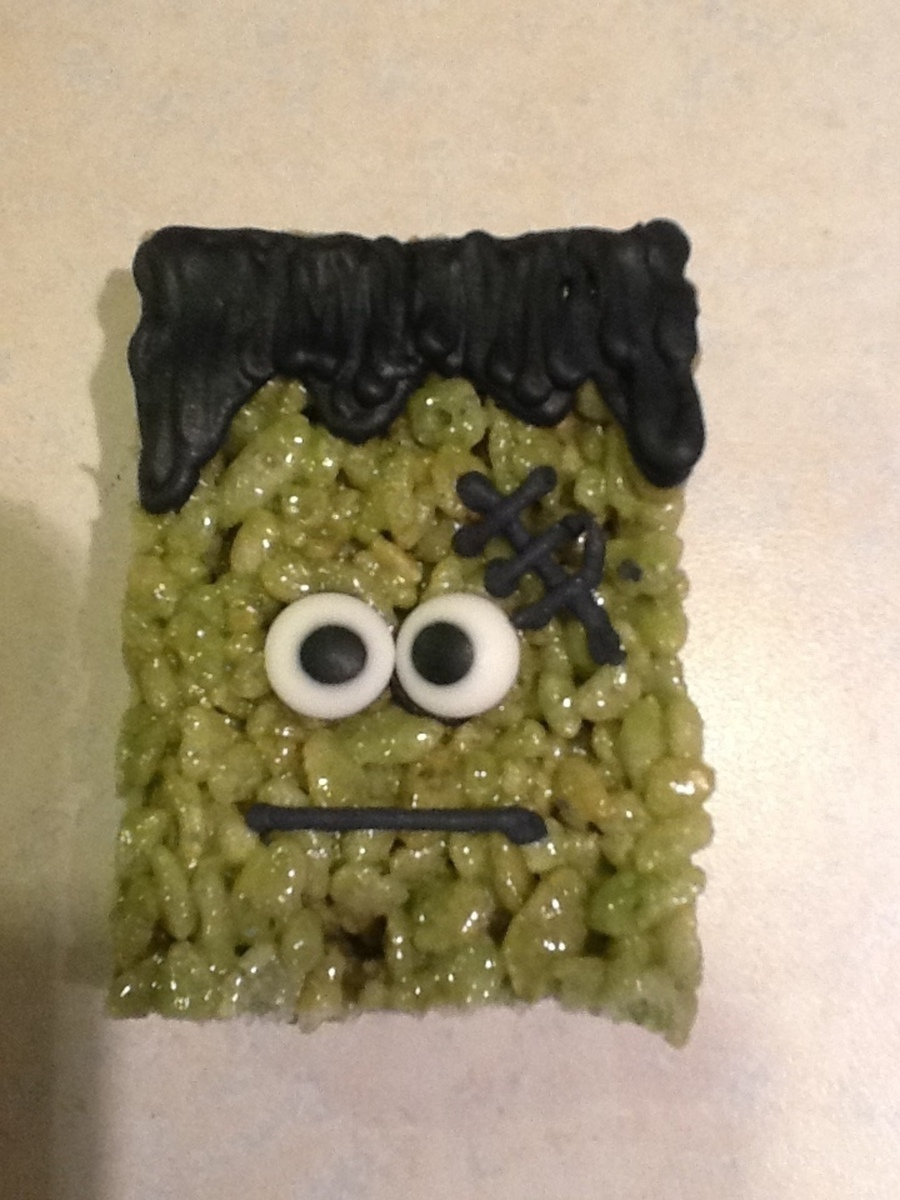 These Frankenstein Cereal Treats Were Made For Clasroom Halloween Treat Bags These Are Quick And Easy To Make For Large Classes I Made 5 on Cake Central