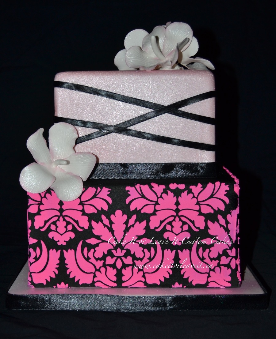 Hot Pink Damask Wedding Cake With Hibiscus Flowers Cakecentralcom