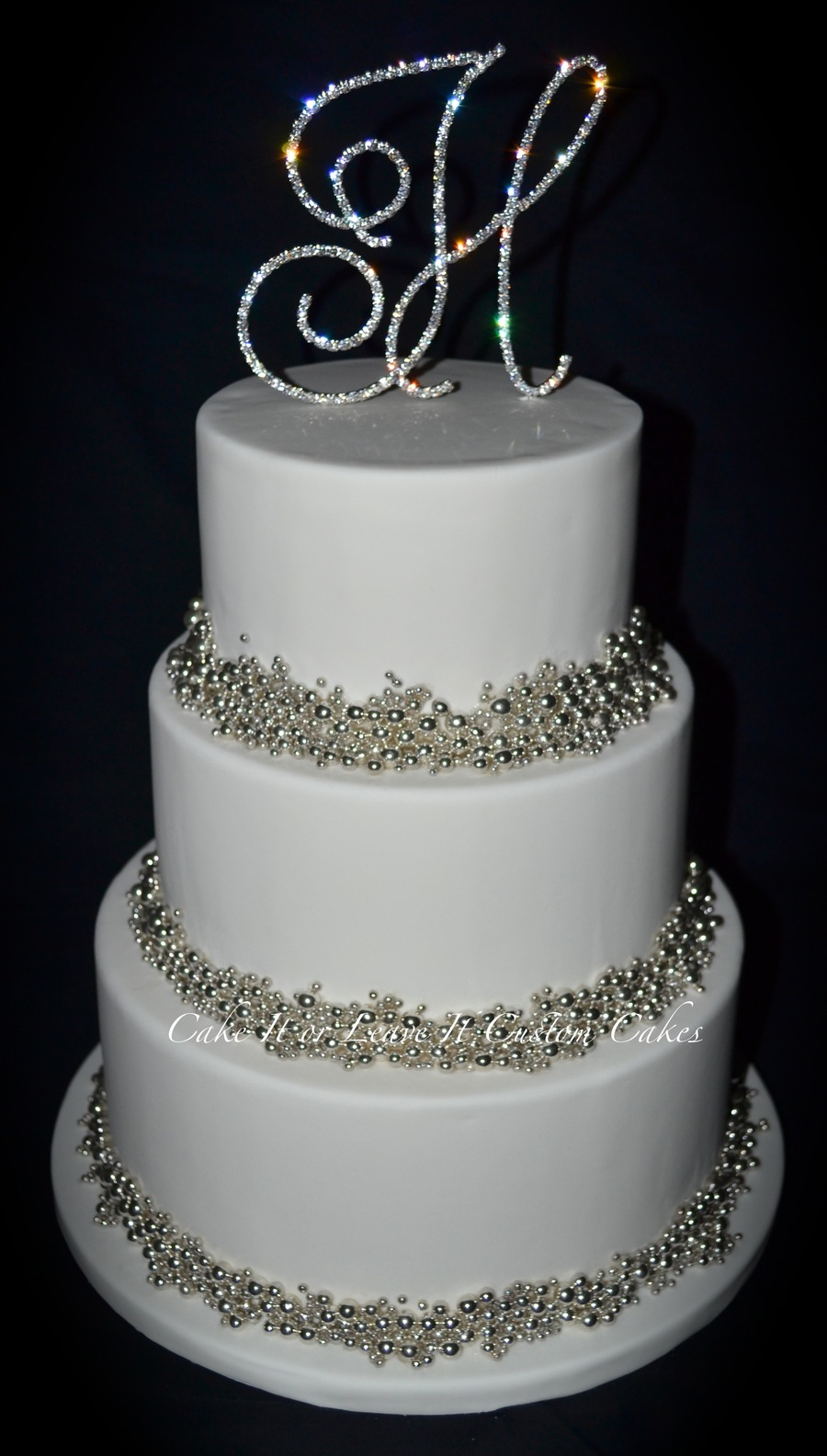 Silver Dragees Wedding Cake on Cake Central