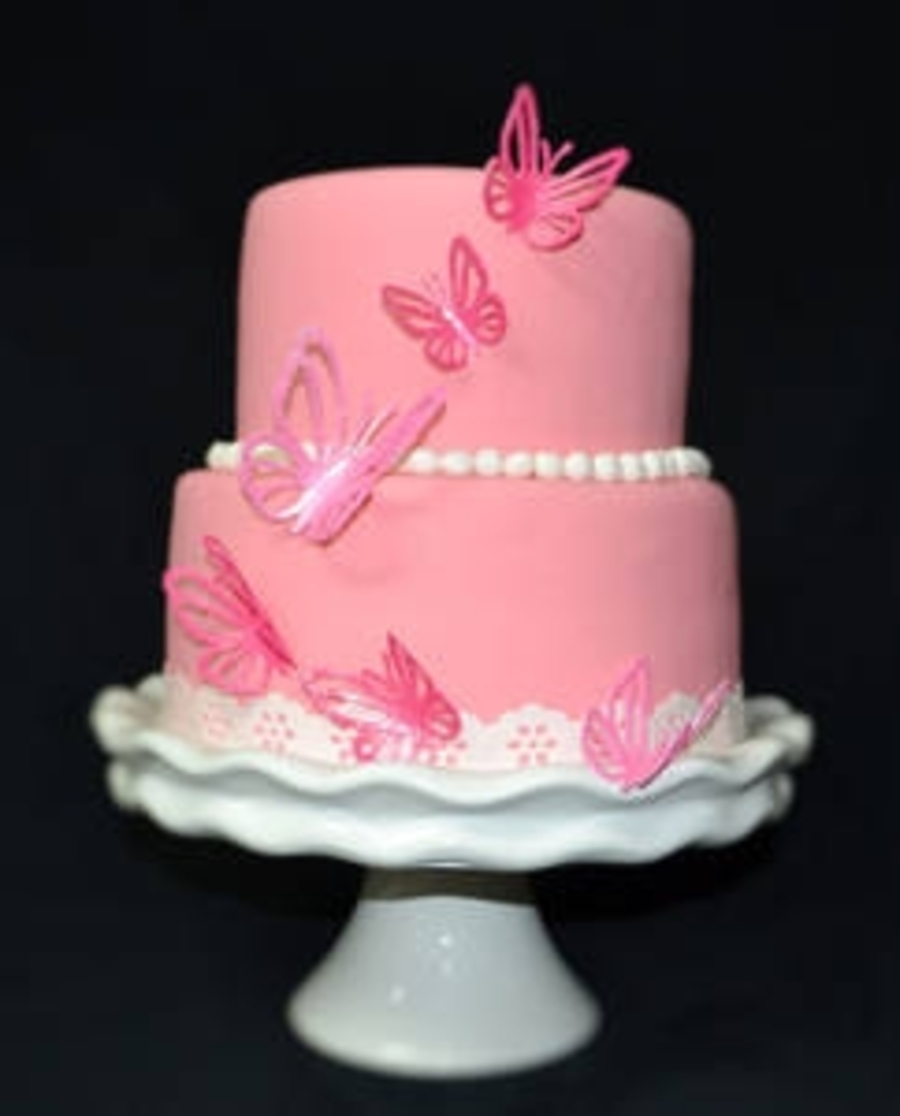 Pretty Pink Butterfly Cake on Cake Central