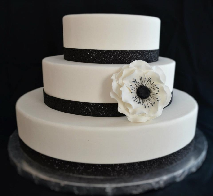 Black And White Wedding Cake With Anemone Flower  on Cake Central