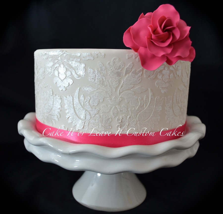 Damask Cake Jan 2013Jpg  on Cake Central