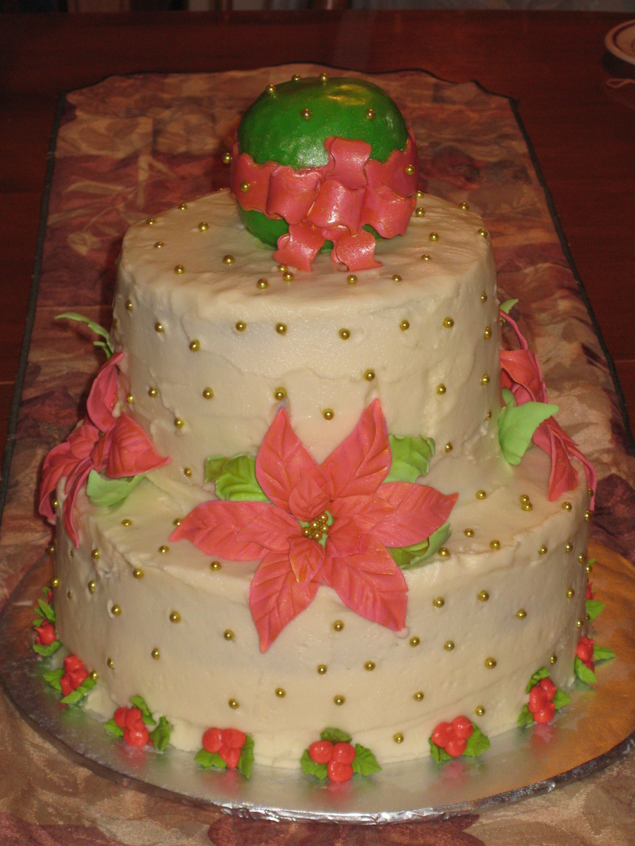Poinsettia With X-Mas Ball on Cake Central