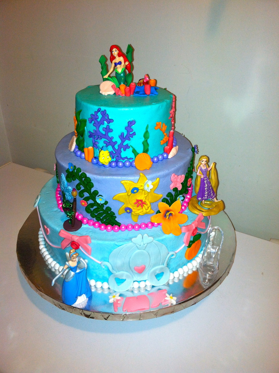Disney Cake Designs Princesses : Disney Princess Cake Arial Rapunzel And Cinderella Bc ...