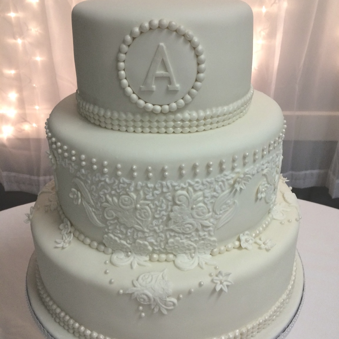 Pearl Collar Wedding Cake CakeCentral