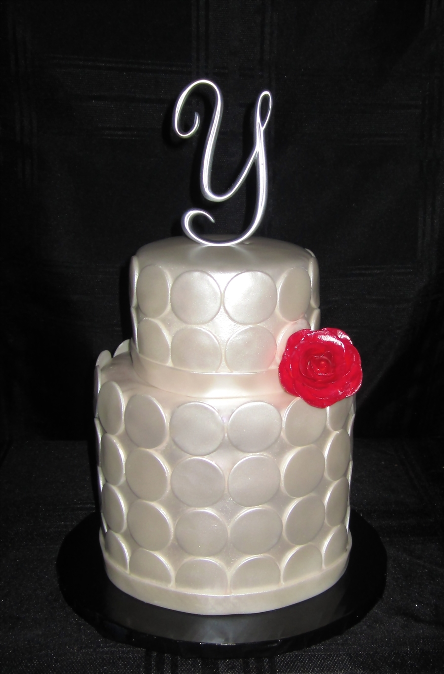 White And Red Wedding Cake on Cake Central