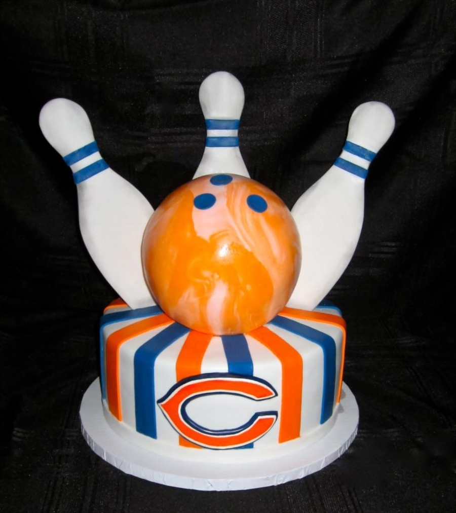 Bowling/chicago Bears Groom's Cake on Cake Central