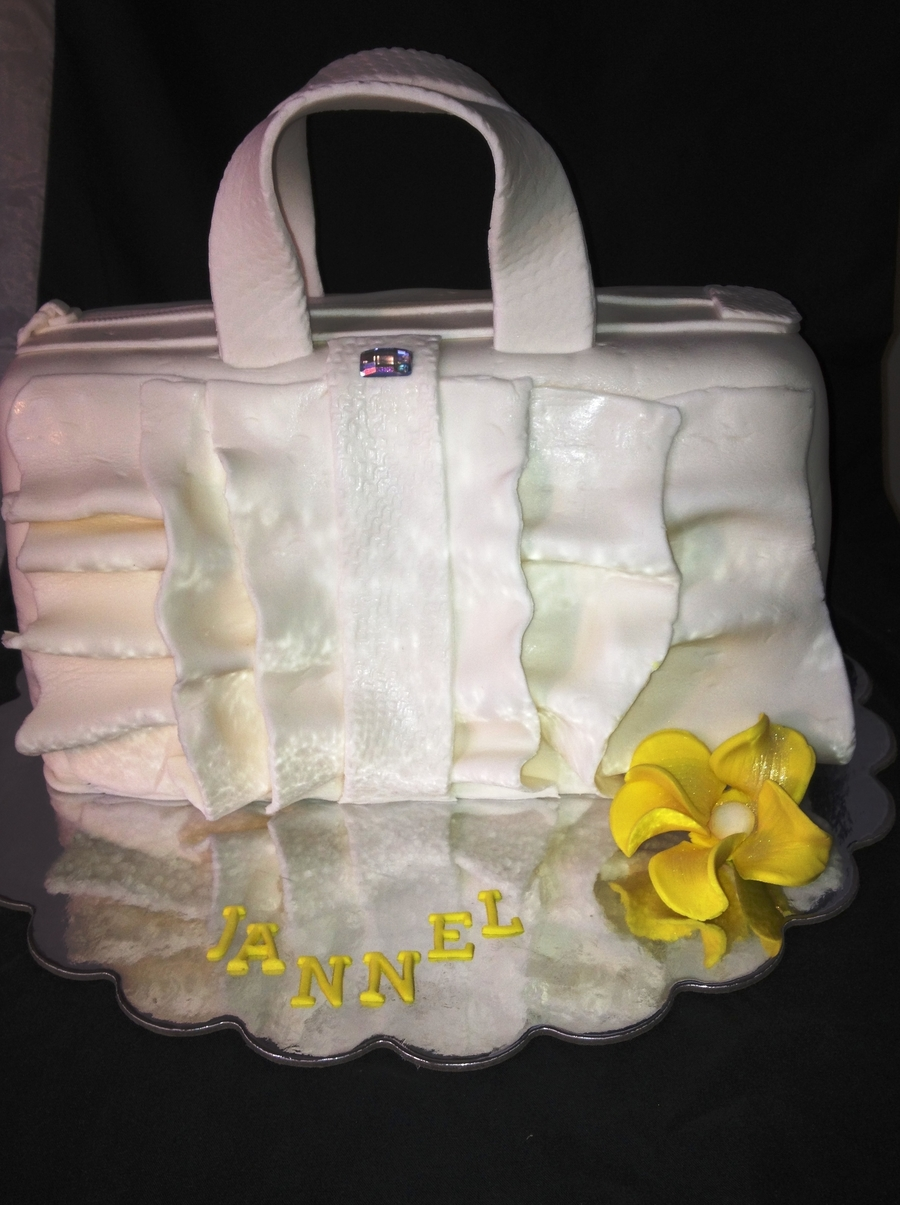 White Ruffles Handbag on Cake Central