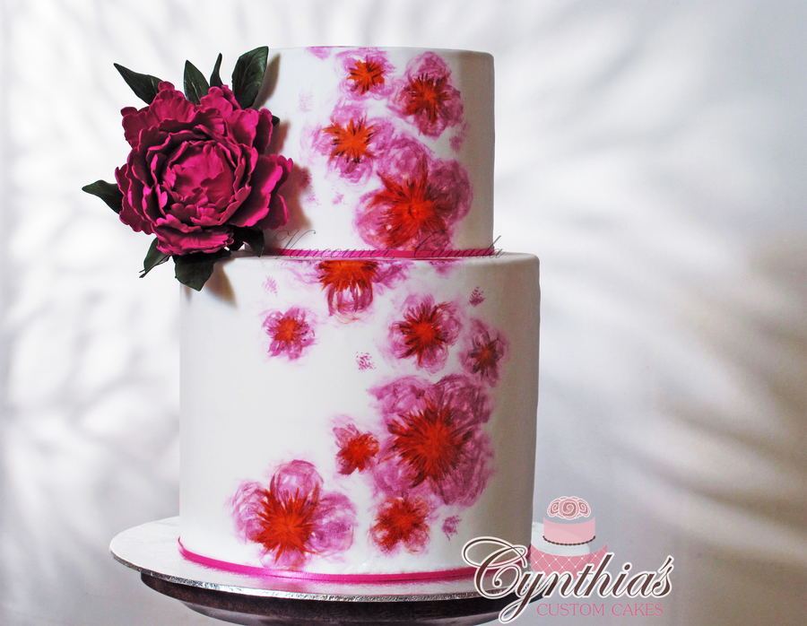 Hand Painted Wedding Cake on Cake Central