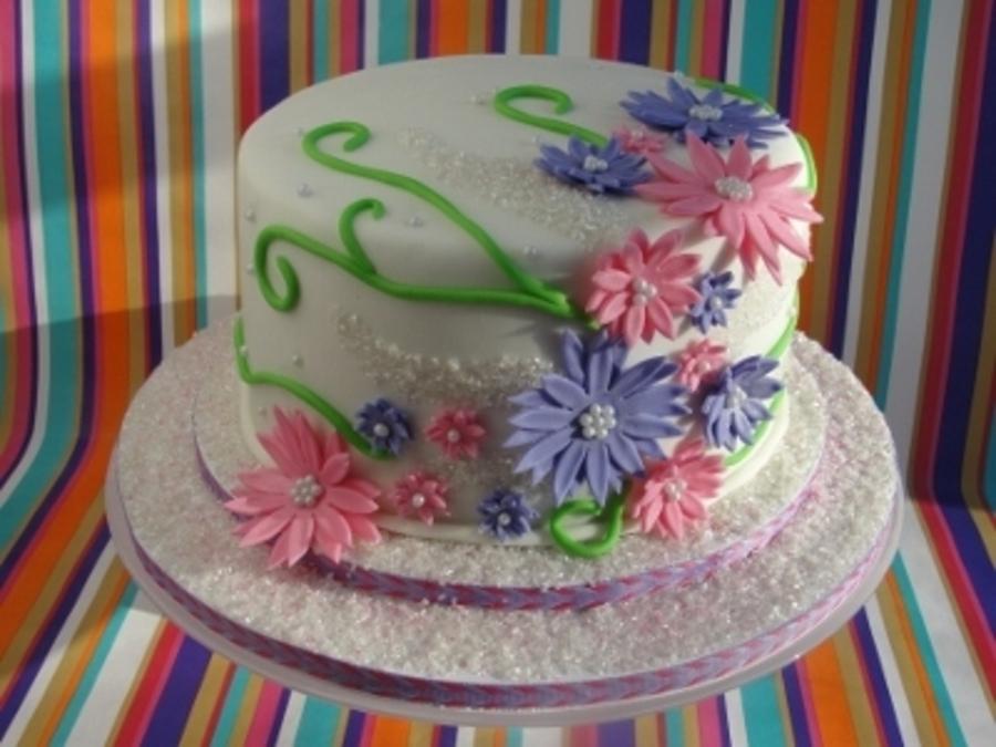 Super Flower Birthday Cake Cakecentral Com Personalised Birthday Cards Veneteletsinfo