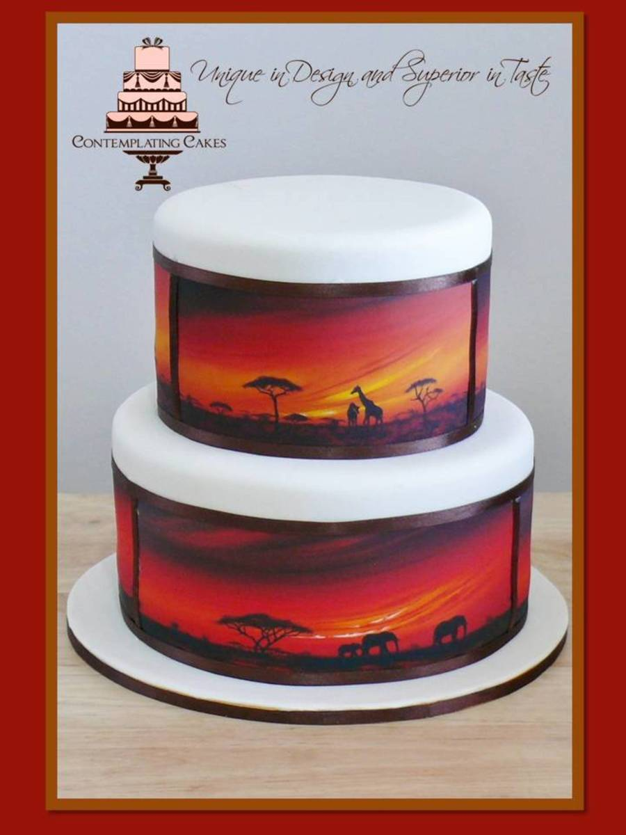 A Big Thank You To The Talented Contemporary Artist Shirley Shelton For Giving Me Permission To Apply Her Gorgeous African Sunset Art To... on Cake Central
