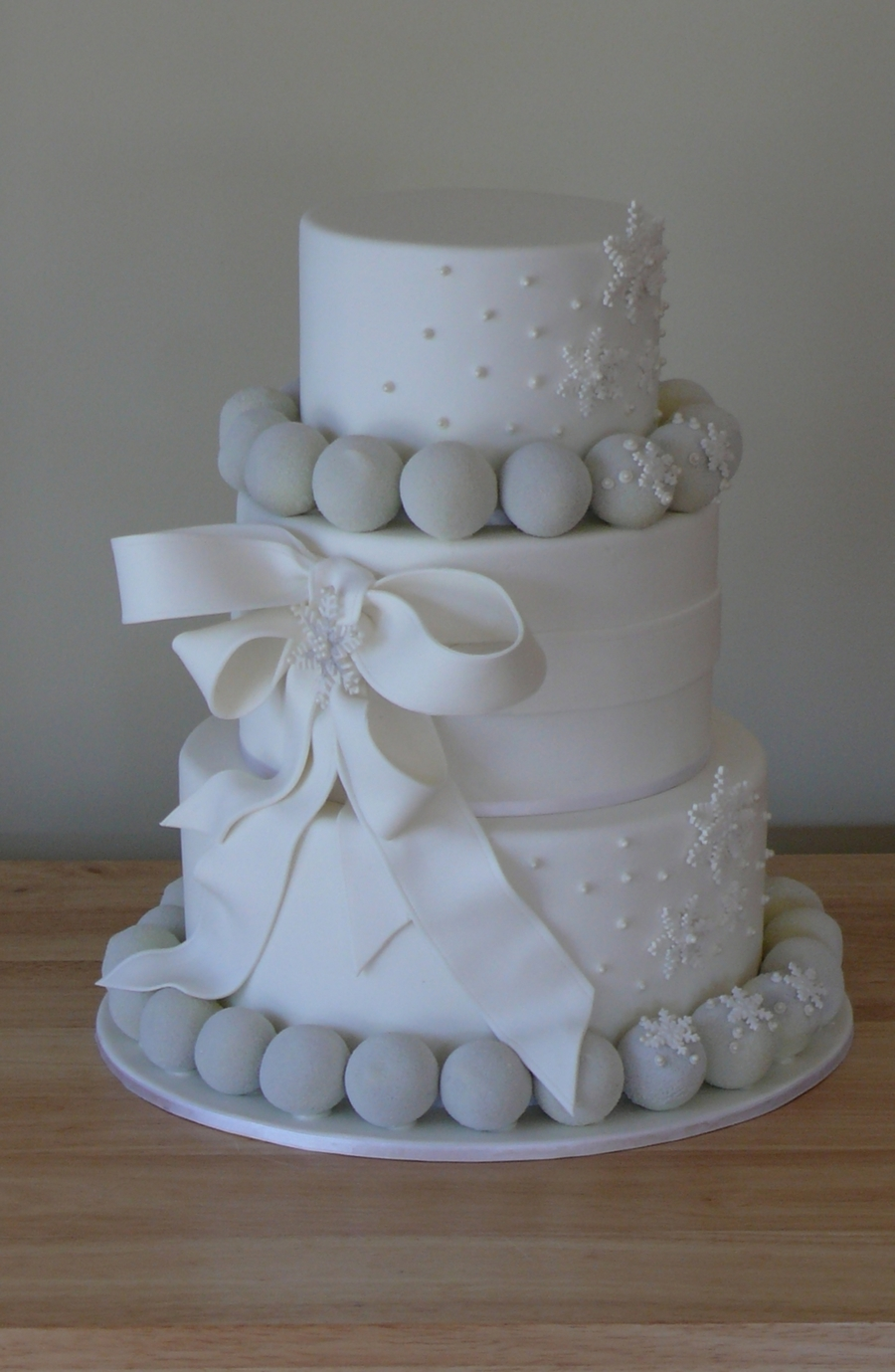 Elegant Snowy White Wedding Cake  on Cake Central