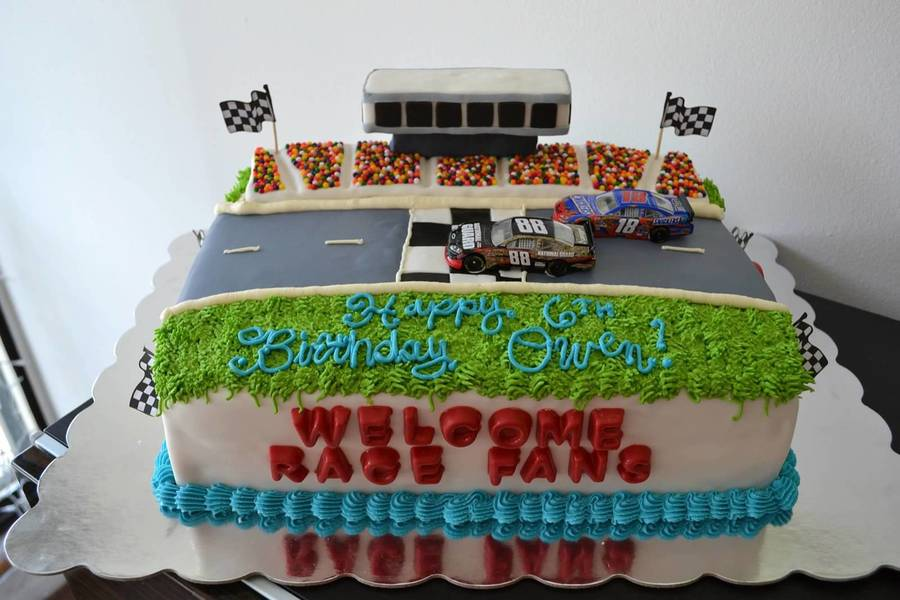 Inspired By Ginger 75833 NASCAR Cake For A 6 Year Old Boy Birthday Party He Really Wanted The Actual Cars On Top So His Mom Kindly Brought Them To Me