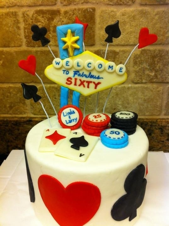 Casino Birthday Cake Topper With Three Different Types Of Mini