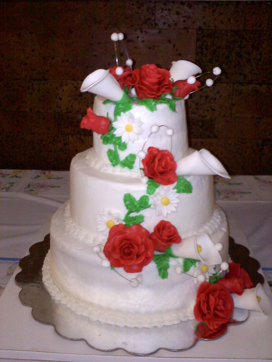 Rose And Calli Lilly Wedding Cake  on Cake Central