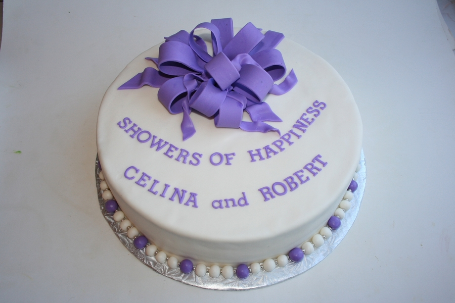 Purple Bow Wedding Shower Cake on Cake Central