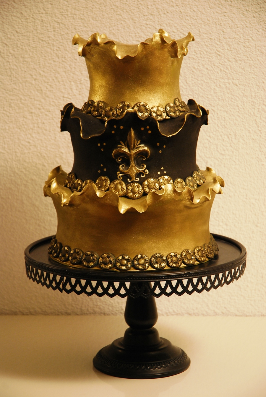 Golden Swirly Cake With Vintage Border Mold on Cake Central