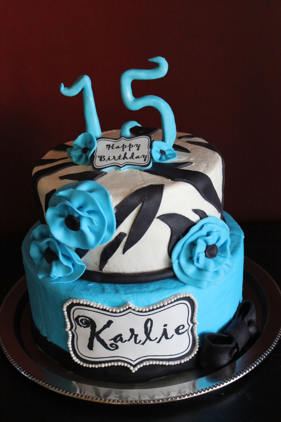Zebra And Blue on Cake Central