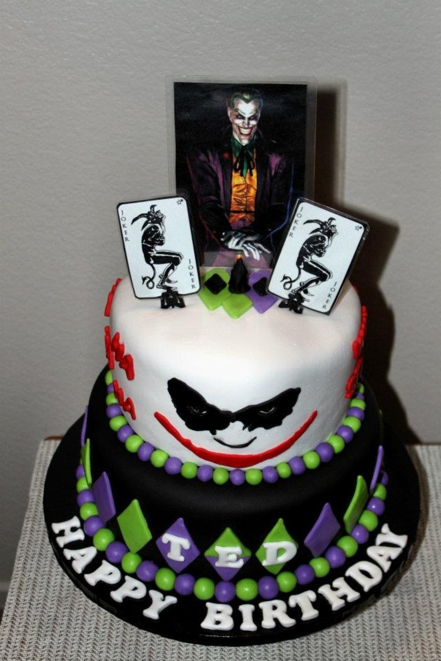 joker and harley quinn wedding cake topper joker themed birthday cake cakecentral 16608