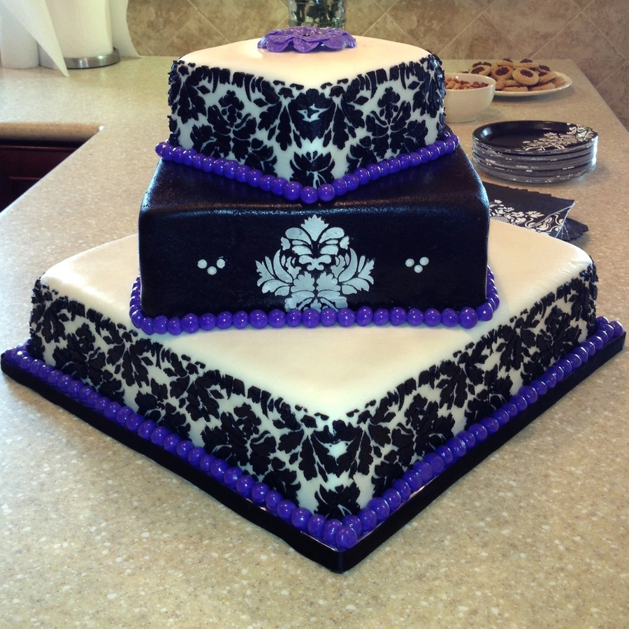 Damask Graduation Cake The Grad Wanted The Purple Border This Is The Largest Cake Ive Done And My First Time Stenciling on Cake Central